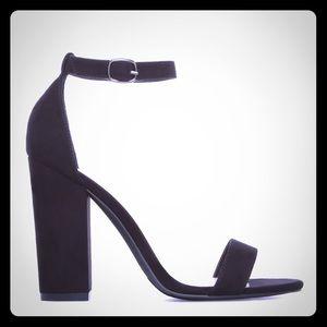 Black, Two-Strap Chunky Block Heel Sandals